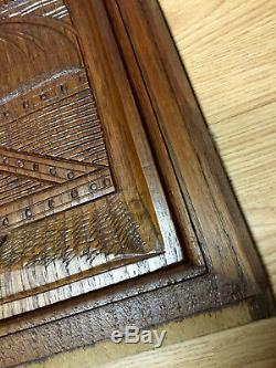 04910 French Antique Carved Wood Architectural Panel Brittany 1900s