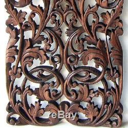 1 Pair Lotus Flower Branch Carving Home Wall Panel Mural Decor Art Statue gtahy