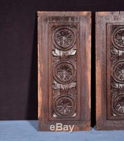 11 French Antique Breton Hand Carved Architectural Panels Solid Chestnut Wood