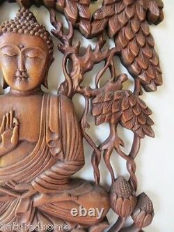 17 Large Wood Buddha Wall Panel, Sculpture, Hand Carved, Stunning