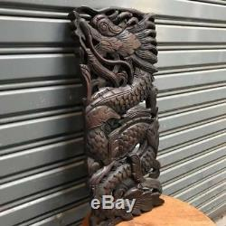 17-inch Teak Wood Carving Wall Panel Dragon Art Handcraft Wall Sculpture