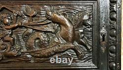 17 th Century Neptune angel carving panel Antique french architectural salvage