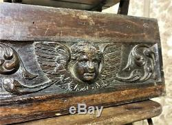 17 th angel wood carving panel Antique french sculpture architectural salvage