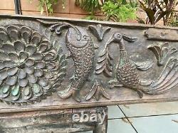 1700's Ancient Wood Fine Carved Fish Peacock Figure Mughal Rare Wall Panel Old
