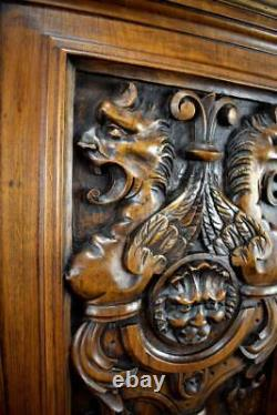 17th Antique French Hand Carved Wood Door Wall Panel with Griffin Chimera Lion