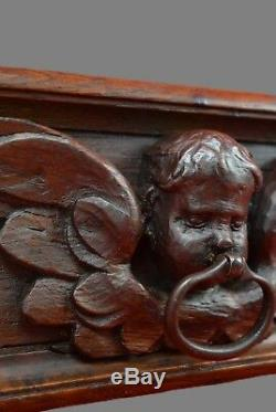 17th. C French Carved Wood Pediment Panel Drawer Pull Front Angel Wrought Iron