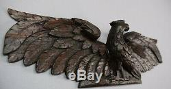 17th. C French Hand Carved Oak Wood Bird Dove Eagle Pediment Panel Scupture