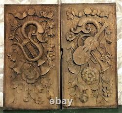 17th century 2 music trophy carving panel Antique french architectural salvage