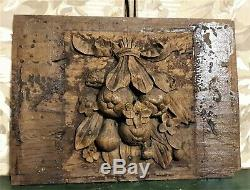17th still life wood carving panel Antique french oak architectural salvage