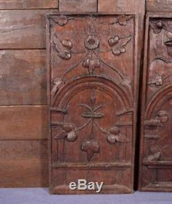 18 Tall Pair of French Antique Deeply Carved Oak Wood Panels