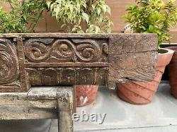 18 Th C Antique Wood Fine Carved Floral Jahroka Painted Window Wall Door Panel