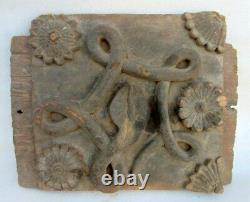 1850's Antique Snake Architectural Window Door Panel Old Rare Wooden Hand Carved