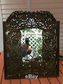 18th-19thC Chinese Carved Wood Panel Screen Red Gilt Mirrored Back Wall Hanger