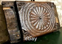18th Flower rosette rosace carving panel Antique french architectural salvage