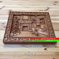 19/48cmChristmasCarved wood 3D Artwork picture icon painting panel