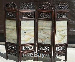 19C Chinese Kesi Kossu Silk Embroidery Hardwood Wood Carved Screen Panel Dragon
