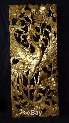 19C Chinese Qing Carved Pierced High Relief Gilt Panel w. Phoenix & Peony (Wil)