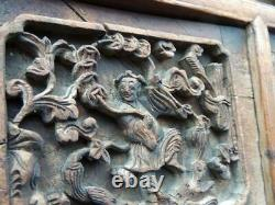 19th Century CHINA Antique Chinese DRAGON Wooden Hand-Carved Panel Screen Wood
