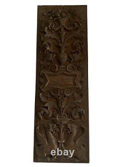 19th Century Renaissance Revival Carved Wood Panel Plaque antique wooden ware