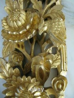2 Antique Chinese temple 3 D wood carving panel gold gilt, 17 x 3.5 x 1.7'
