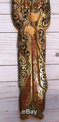 2 Carved Painted Wood Religious Saint Icons Wall Hanging Panel Primitive Figure