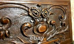 2 Decorative scroll leaf wood carving panel Antique french architectural salvage