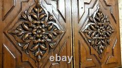 2 Flower scroll leaves wood carving panel Antique french architectural salvage