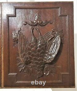 2 Hunting trophy decorative carving panel Antique french architectural salvage