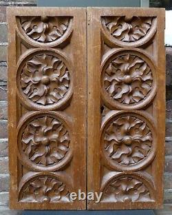 2 Nice Antique wood carving panels with a Gothic decor, Dutch, 19th. Century