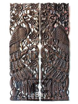 2 Peacocks on Tree New Wood Carving Home Wall Panel Mural Decor Art Statue gtahy