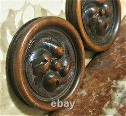 2 Rosette groove round wood carving panel Antique french architectural salvage