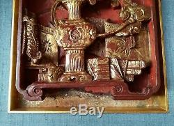 2 x Schnitzerei 19. Jh. Rotlack vergoldet China carved gilded wood relief panel