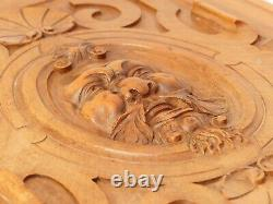 21 Antique French Carved Walnut Wood Panel Gothic Man Face Bacchus Salvage #2