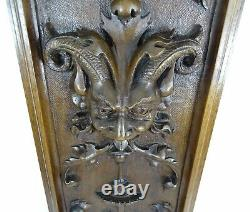 21 Antique French Panel Solid Walnut Wood Hand Carved Green Man -Renaissance1