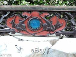 212. Antique Carved Wood Panel with Flower, Deer and Swallow