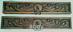 22 Antique Pair of French Carved Wood Pediment Drawer Front Panel Salvage