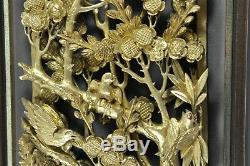 22 Fine Old China Chinese Carved Wood Gilt Gold Panel Wall Hanging Scholar Art