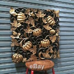 23 Pumpkin Teak Wood Carved Collectibles Thick Handicraft Wall Decor Wall Panel
