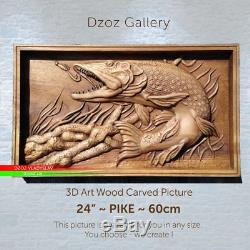 24/60cm PikeWood carved picture 3D ART paiting-panel-icon-orthodox-art-oil