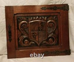 24 Antique French Gothic Architectural Panel Door Oak Wood Carved Salvage