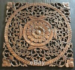 24 Asian Carved Wood Wall Art Panel Decor Plaque Floral Wood Teak Hanging Gift