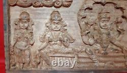 25 Hindu God Vishnu Story Lakshmi Ganga Wooden Hand Carved Wall Hanging Panel