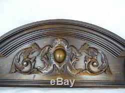 26. Antique French Carved Wood Architectural Pediment Panel solid Oak