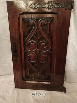 27,5 Antique French Gothic Architectural Panel Pair Door Oak Wood Carved Salvage