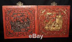 2x 19C Chinese Qing Red Lacquer & Gilt Carved Wooden Panels Figures Motif (RgR)