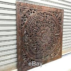 3 Pieces Flower Teak Wood Carved Handcraft Wall Decor Art Collectible Wall Panel