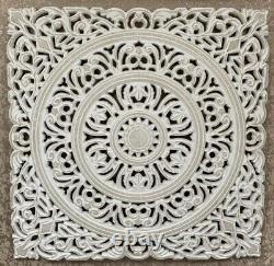 3 X Art Panels Fretwork Wall wood Ornament carved decor White modern design