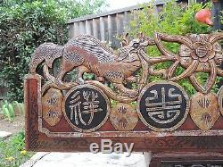 329. Antique Carved Gold Gilt Wood Panel with Foo Dog with Chinese Words