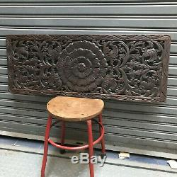 35-inch Floral Teak Wood Asian Wood Carving Wall Panel Wall Hanging Home Decor