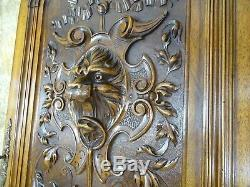 35Antique French Large Carved Wood Architectural Door Panel Gothic Lion Walnut